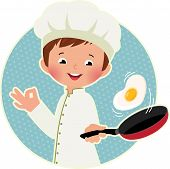 foto of scrambled eggs  - Stock vector illustration of a cute boy chef flipping an omelet or scrambled eggs - JPG