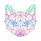 stock photo of siamese  - polygonal abstract gradient colored siamese cat silhouette drawn in one continuous line isolated on a white background - JPG
