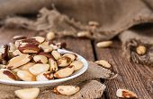 picture of brazil nut  - Brazil Nuts (detailed close-up shot) on an old vintage background ** Note: Shallow depth of field - JPG