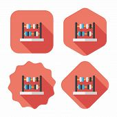 stock photo of subtraction  - Abacus Calculation Flat Icon With Long Shadow - JPG