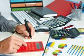 foto of financial audit  - Hands of accountant business man with calculator - JPG