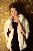 picture of mink  - Elegant young woman in  evening dress and mink fur jacket posing in vintage interior - JPG