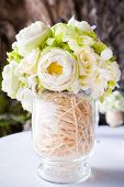 stock photo of pergola  - Floral arrangement at a wedding ceremony on the beach - JPG
