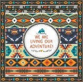 picture of tribal  - Navajo seamless tribal pattern with quotes on labels - JPG