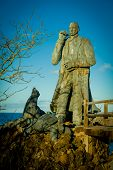 stock photo of darwin  - charles darwin statue in san cristobal island galapagos ecuador - JPG