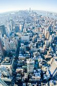 stock photo of penthouse  - at new york city manhattan skyline aerial - JPG