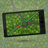 picture of gps navigation  - Smartphone with GPS navigation - JPG