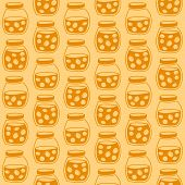 stock photo of apricot  - Bright seamless pattern with the apricot jam jars - JPG