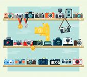 picture of chalice  - Photo camera icons set on the shelf in flat style - JPG