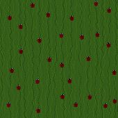 foto of ladybug  - Seamless Pattern with Red Ladybugs and Ladybirds on a Dark Green Background - JPG