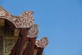 stock photo of apex  - Gable apex on the roof of temple - JPG