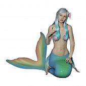 picture of mermaid  - 3D digital render of a beautiful fantasy mermaid isolated on white background - JPG