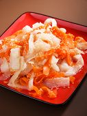 picture of turnips  - Healthy carrot and turnip salad with sesame close up - JPG