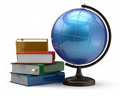 pic of geography  - Globe and books blank global geography knowledge studying wisdom literature cartography icon concept - JPG