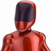 stock photo of cyborg  - Red robot futuristic cyborg artificial bot android avatar portrait icon concept - JPG
