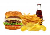 stock photo of french culture  - French fries in white box and cheeseburger isolated on white - JPG