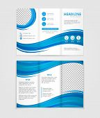 stock photo of blue  - Vector brochure template design with blue wave elements - JPG