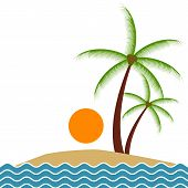 image of palm  - Vector illustration of summer exotic beach with palm trees - JPG
