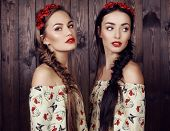 image of headband  - fashion studio photo of two beautiful girls with long hair in elegant dresses with print of poppies and flower - JPG