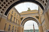stock photo of winter palace  - View of Winter Palace from under arches St Petersburg Russia - JPG