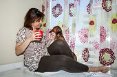 pic of dachshund dog  - Attractive woman playing with red dachshund dog - JPG