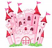 stock photo of castle  - Illustration of a magical pink princess castle - JPG