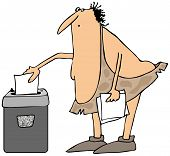 picture of caveman  - This illustration depicts a caveman feeding a document into a paper shredder - JPG