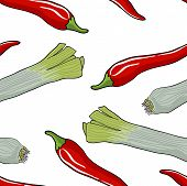 stock photo of leek  - Seamless vegetable pattern leek and red pepper vector illustration - JPG