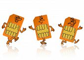 stock photo of micro-sim  - sim card in the form of little people - JPG