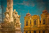 Постер, плакат: Old Postcard With German Dome And Holy Trinity Statue Timisoara Romania 1