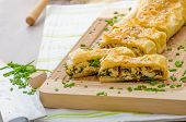 picture of chive  - Strudel with spinach blue cheese and garlic sprinkled with chive and sesame - JPG