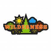 foto of wilder  - Wilderness badge sticker or logo composition - JPG