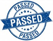 stock photo of passed out  - passed grunge retro blue isolated ribbon stamp - JPG