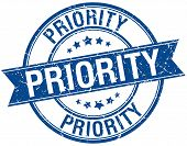 picture of priorities  - priority grunge retro blue isolated ribbon stamp - JPG