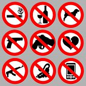 stock photo of warning-signs  - set prohibitive signs vector art warning illustration - JPG