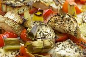 stock photo of leek  - Vegetables mix baked in the oven with aubergine - JPG