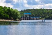 foto of hydro  - The reservoir and hydraulic power plant Dalesice in the Czech republic - JPG