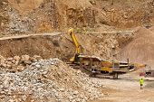 picture of excavator  - Excavator at Quarry site - JPG
