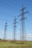 image of power transmission lines  - Thoto of spring landscape with power line Russia - JPG