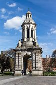 pic of trinity  - Bell tower in the courtyard of the Trinity College in Dublin Ireland - JPG