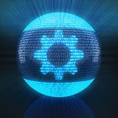 picture of binary code  - Gear symbol on globe formed by binary code - JPG