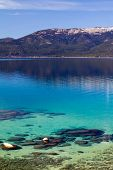 pic of crystal clear  - Crystal clear blue waters of Lake Tahoe in California - JPG