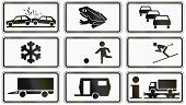 stock photo of slippery-roads  - Collection of various German supplementary road signs - JPG