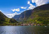 foto of fjord  - Village in Fjord Naeroyfjord  - JPG