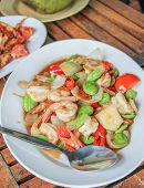 image of stinky  - fried shrimp with red chilliestomatoes and stinky beans  - JPG