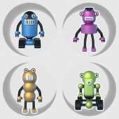 stock photo of robotics  - robots set of illustrations 3D - JPG