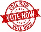 pic of voting  - vote now grunge retro red isolated ribbon stamp - JPG