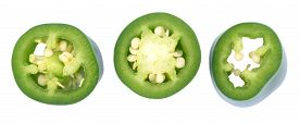 picture of jalapeno  - sliced Jalapeno Peppers isolated on White Background - JPG