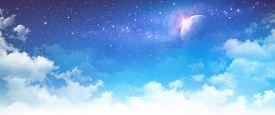 stock photo of nightfall  - High resolution cloudy sky background - JPG
