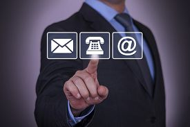 image of touching  - Businessman Touching Contact Us Concept touching phone email action - JPG